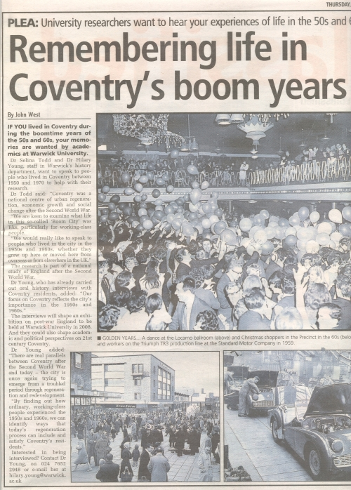 Remembering life in Coventry\'s Boom Years