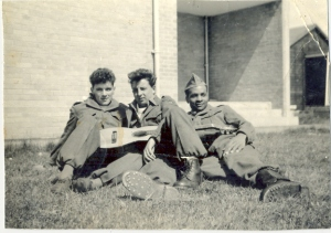James and friends relaxing outside their billet c. 1956